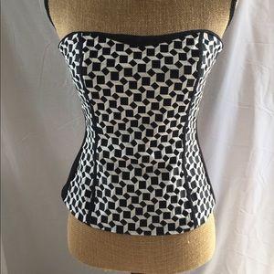 WHBM Black & White bustier / corset Size 4